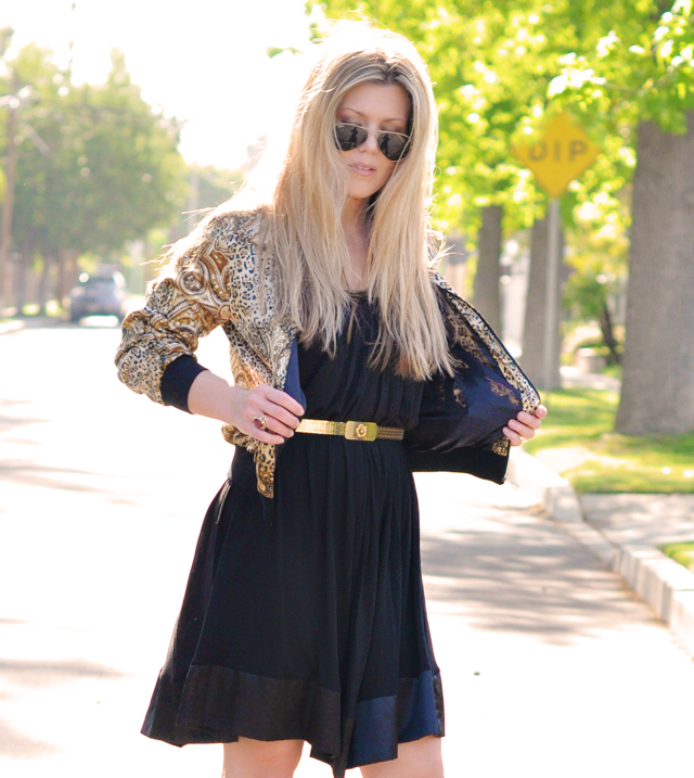 black and gold dress and accessories