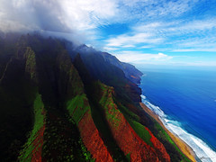 napali (paul bica) Tags: ocean trip blue trees sea sky mountains beach nature water clouds paul outdoors island hawaii coast high sand chopper day waves tour view ride pacific cloudy north deep visit aerial crest line helicopter shore valley kauai far napali dex colorphotoaward doorsoff dexxus saariysqualitypictures 20110209ha4kauai50066d