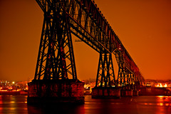 Anaranjado (SunnyDazzled) Tags: railroad trestle orange newyork history night river stars lights cityscape structure historic poughkeepsie huge hudson walkwayoverthehudson