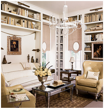 Mirrored coffee table reading room