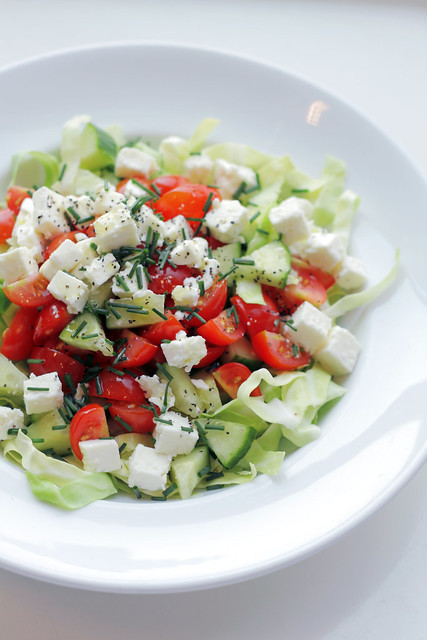 Feta Cheese, Cherry tomatoes and Cabbage