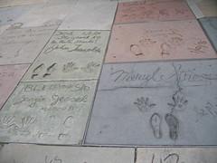 John Travotal, Steven Seagal, Meryl Streep, Georgie Jessel's handprint/signature in front of the Grauman's Chinese Theatre