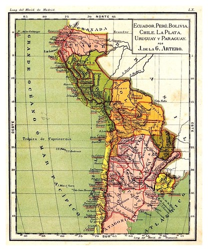 012-Ecuador-Peru-Bolivia-Chile...-Atlas De Geografía- Astronómica, Física, Política Y Descriptiva 1908- Juan G. Artero