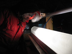 "Vasileios Gkinis examining a ""cloudy layer"" within an ice core"