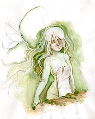 youngbirch-sm (Mtnlaurelarts) Tags: tree green art girl face watercolor painting paper artwork acrylic sad earth best fantasy birch gouache mythological
