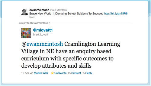 Comment from Cramlington Learning Village