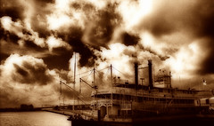Natchez (David.Keith) Tags: new sky water sepia clouds photoshop river mississippi boat photo orleans dynamic riverboat natchez hdr cs4 rivercraft