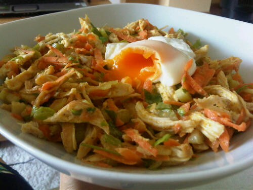 Chicken curry salad w/ poached egg 1