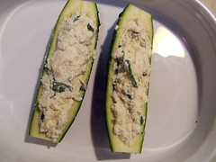 Ricotta stuffed zucchini before cooking