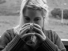 Drinking tea in black and white (RachelMarie@) Tags: new blackandwhite holiday coffee vintage tea sister bach zealand blonde indie mug mahia sooc