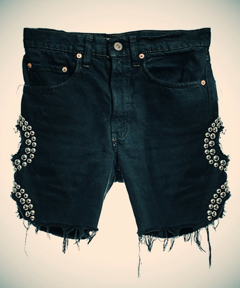OBESITY AND SPEED  DENIM STUDDED SHORTS WITH CUTOUT CIRCLES 5.jpg_effected-001