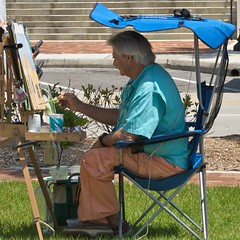 An artist at work (LarryJay99 ) Tags: blue stairs chair paint artist steps x easel charlespeck ilobsterit