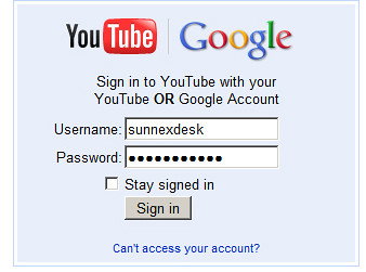 login youtube