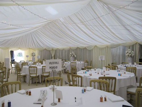 wedding marquee with unusual place names by Churchill Marquees