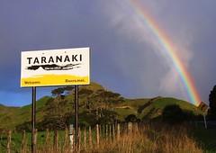 Good As Gold (jimjiraffe) Tags: newzealand sign rural rainbow fuji nz roadsign welcome taranaki mokau likenoother taranakinz s6500fd haeremai jimjiraffe