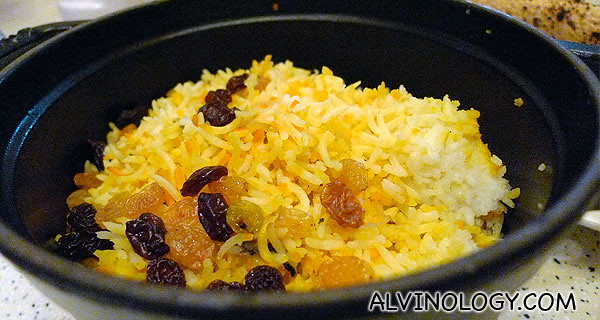 Raisin rice to go with the mutton curry