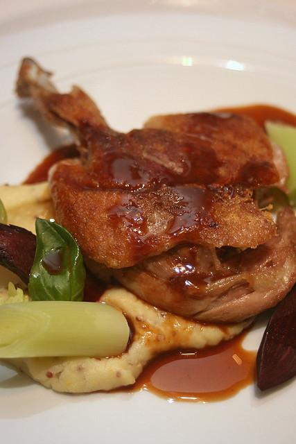 Crisp Duck Confit - confit duck leg, beetroot, turnip, potato puree with pommery mustard, thyme jus