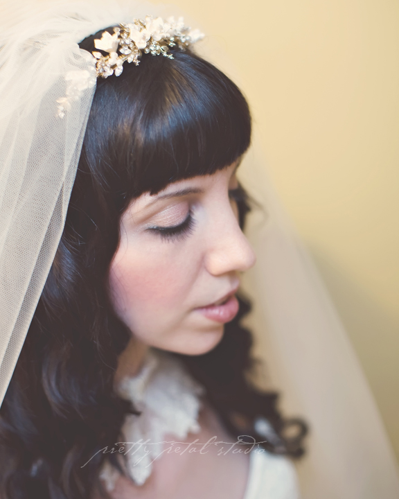 bridal veil and tiara