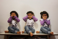 See no evil, hear no evil, speak no evil (fahid chowdhury) Tags: girl face photoshop mouth japanese golden see eyes expression no evil hearnoevil clone amira rule speak hear proverb iwazaru mizaru kikazaru fahid dontsee      donthear