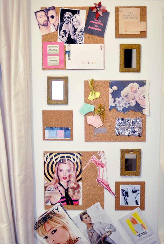 cork tile wall and  gold  framed  mirrors inspiration board wall
