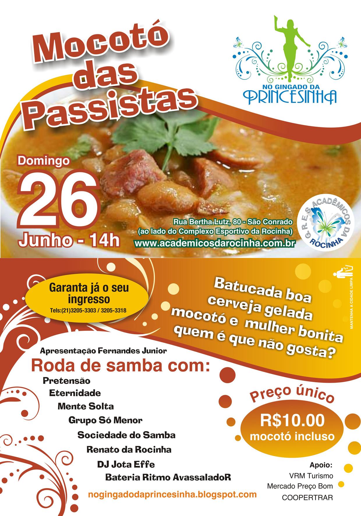 Flyer 1º Mocotó das Passistas da Acadêmicos da Rocinha