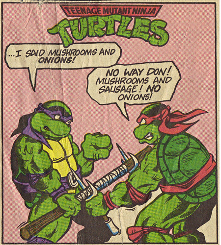 Teenage Mutant Ninja Turtles { newspaper strip } NO ONIONS! ..art by BERGER - isolated :: 08231992
