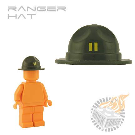 Custom minifig Ranger Hat - Army Green w/ rank