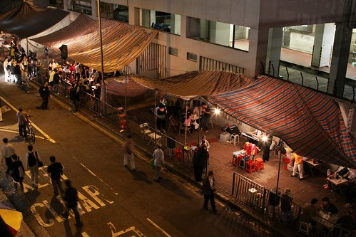 Temple Street and tents with Cantonese opera performers