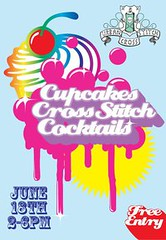 cupcakes cross stitch and cocktails poster