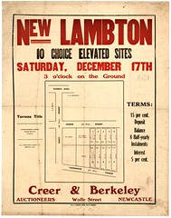 M1604 - New Lambton Subdivision Plan, Saturday December 17, [1921]. (Cultural Collections, University of Newcastle) Tags: newcastle plan australia nsw newsouthwales hunterregion newlambton landsales cursonstreet brettstreet subdivisionplans torrenstitle creerberkeley carringtonparade northumberlandpermanentbuildinginvestmentlandandloansociety lintonpalmerturner