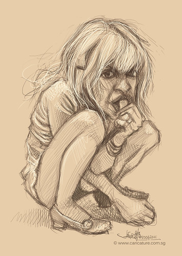 digital caricature sketch of Courtney Love