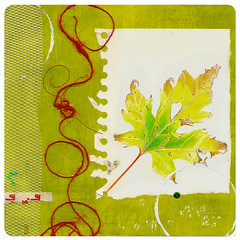 October (shelley lane) Tags: autumn red green fall yellow collage leaf october mixedmedia circles turning twine twisting shelleykommers