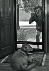 The Door to Door Salesman (ricko) Tags: door deleteme5 deleteme8 bw dog selfportrait deleteme deleteme2 deleteme3 deleteme4 deleteme6 deleteme9 deleteme7 me saveme mask deleteme10 darby salesman knocking
