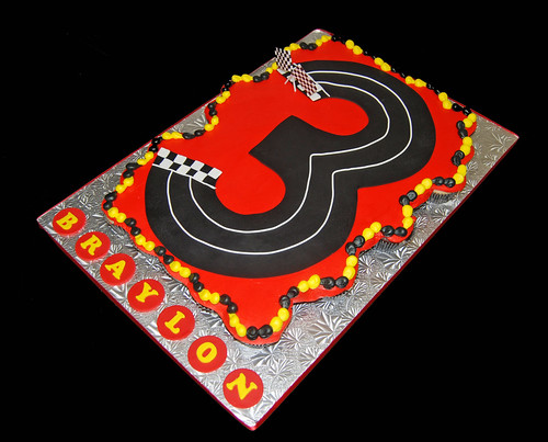 Number shaped race track cupcake cake for a Cars themed birthday party