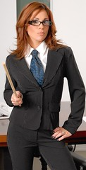 Kristen (bof352000) Tags: woman fashion shirt costume femme tie class suit mode necktie elegance dapper cravate strict chemise businesswoman affaire