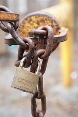 Locked Up (peterkelly) Tags: ontario canada yellow digital gate lock rusty chain aurora rusted northamerica sheppardsbush lakesimcoeregionconservationauthority