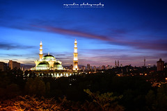 Masjid Wilayah (azrudin) Tags: city blue light sky art skyline architecture sunrise town cityscape aerialview mosque malaysia bluehour kualalumpur klcc masjid scapes masjidwilayah azrudin azrudinphotography