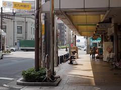Afternoon shopping street (kasa51) Tags: street light shadow people building sign japan afternoon kitakyushu shoppingstreet moji