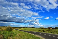 Poems of my photos: still finding the road,still looking for home,still loving the view,still haven't found you (q.mine) (ivanaivic) Tags: slavonia landscape greenoasis canon rookie bluesky clouds road hrvatska