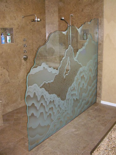 Rugged Retreat, Glass Shower Partition, Etched Decorative Art Glass Rugged  Retreat Divider