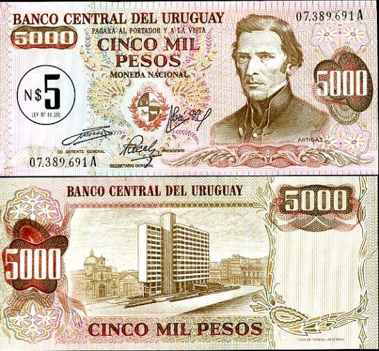 5 Nuevo Peso pretlač na 5000 Uruguay 1975, Pick 57