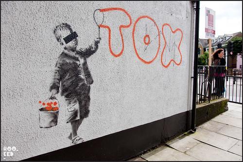Camden Street Art, Stencil work by British Street Artist Banksy — 'TOX'