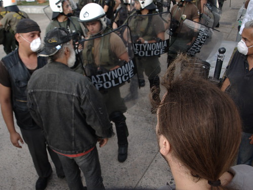 Tense stand off between Greek protesters and riot police in Thessaloniki, Greece by Teacher Dude's BBQ