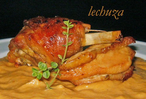 Pollo asado con mostaza-cerca