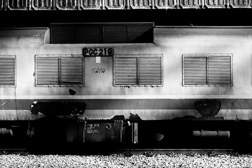 Sunlight glinting off a train cabin