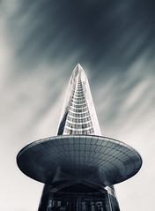 Invasion! (Philipp Klinger Photography) Tags: longexposure light shadow sky bw white house motion black paris france reflection building tower glass architecture clouds skyscraper reflections grey la blackwhite movement nikon frankreich europa europe long exposure alien gray ladefense ufo aliens filter slowshutter and philipp iledefrance defense invasion entrace puteaux neutral klinger nd110 d700 dcdead