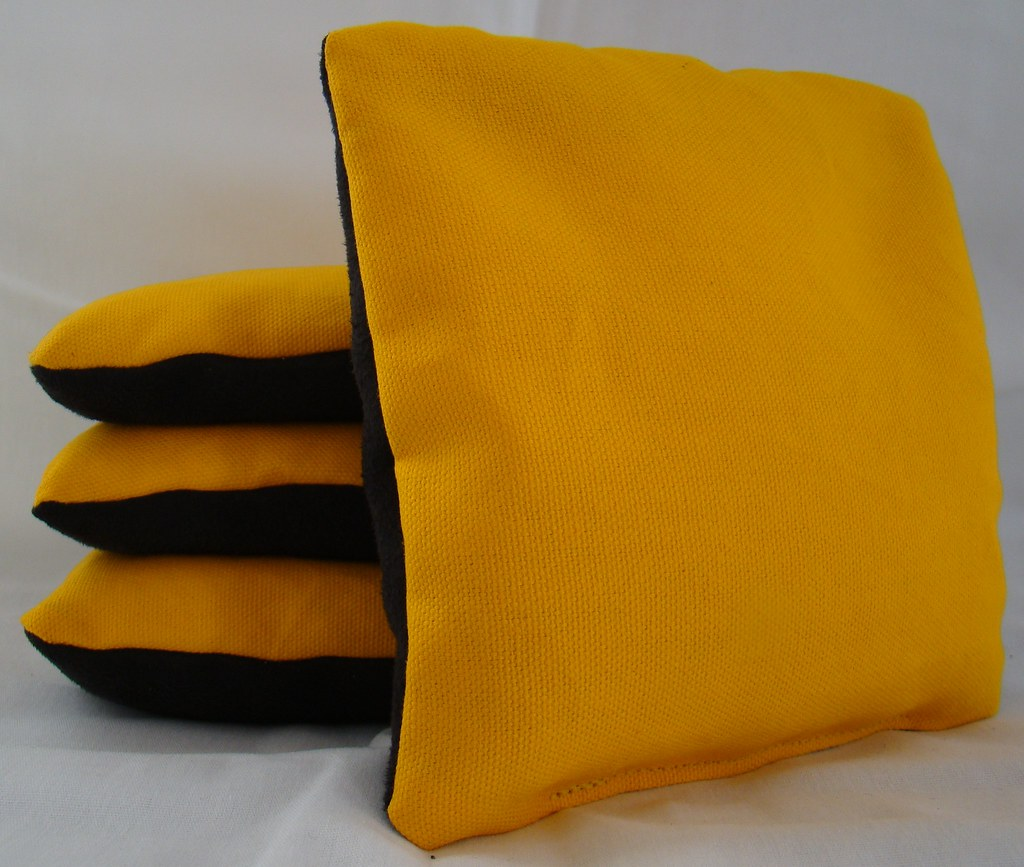 Yellow & Black Suede Dual Sided Cornhole Bags