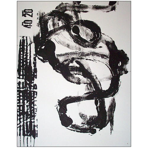 Black and White - original abstract art painting by brianelston