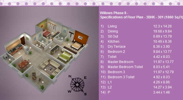 3 BHK Flat 1860  sq.ft. saleable in Vascon Willos Phase 2 at Balewadi - Baner - Pune
