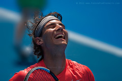 Rafa (The Eternity Photography) Tags: charity blue portrait orange smile face canon rally handsome australia melbourne run victoria tennis laugh rafa nadal digitalphotography closedeyes australianopen rafanadal rafaelnadal 2011 rodlaverarena canonllens charitymatch santanubanik theeternity lightmood     tennisaustralia wwwfrozenforeternitycom rallyforrelief